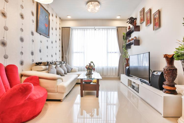 Phòng Khách Căn hộ The Tresor 2 phòng ngủ tầng cao TS1 đầy đủ nội thất