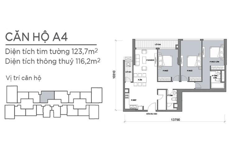 Mặt bằng căn hộ 3 phòng ngủ Căn hộ Vinhomes Central Park 3 phòng ngủ tầng cao P6 nội thất đẹp