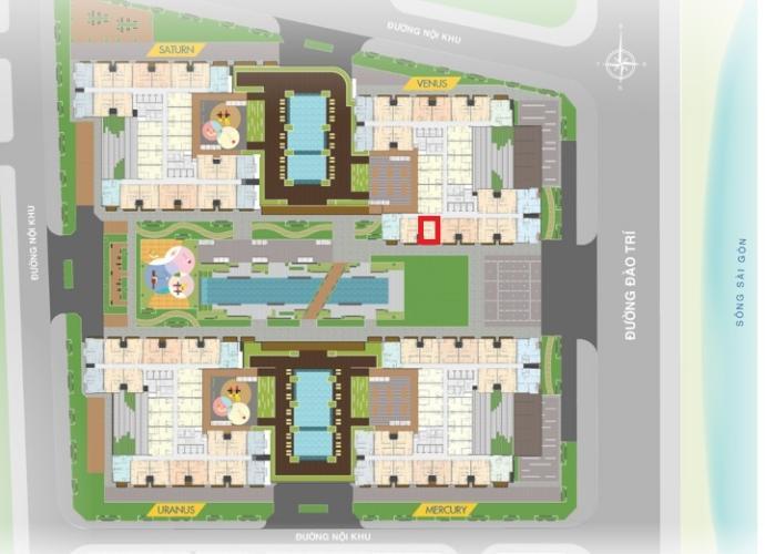 Mặt bằng căn hộ Q7 Saigon Riverside Complex Bán căn hộ Q7 Saigon Riverside ban công hướng Nam nhìn về nội khu.