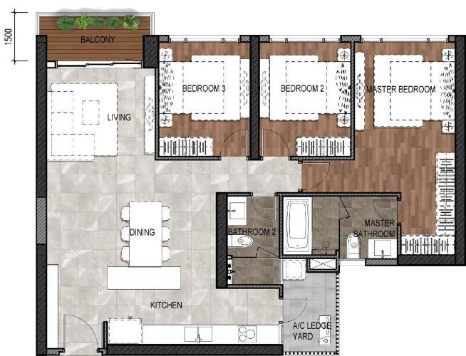 Căn hộ Riviera Point tầng 29, sẽ bàn giao kèm nội thất cơ bản.