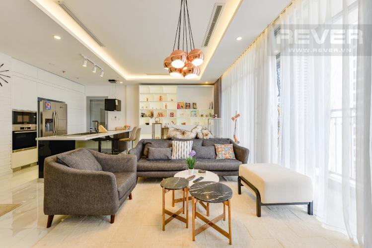 Phòng khách Căn hộ Vinhomes Central Park tầng thấp C1 thiết kế đẹp, đầy đủ tiện nghi