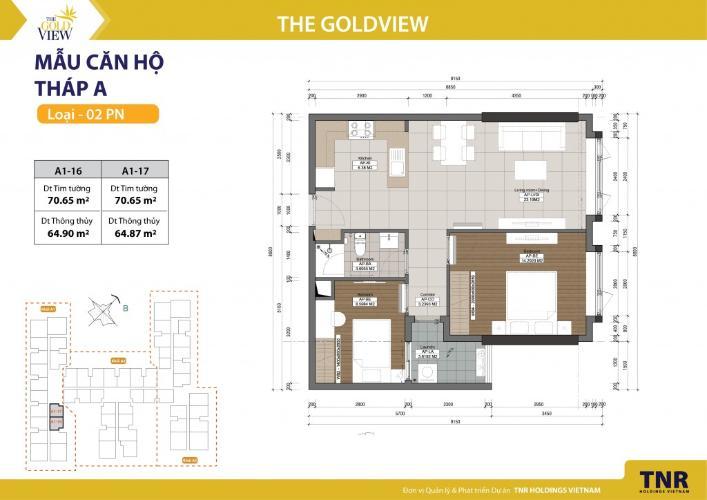 Căn hộ 2 phòng ngủ Căn hộ The Gold View 2 phòng ngủ tầng thấp A1 đầy đủ nội thất