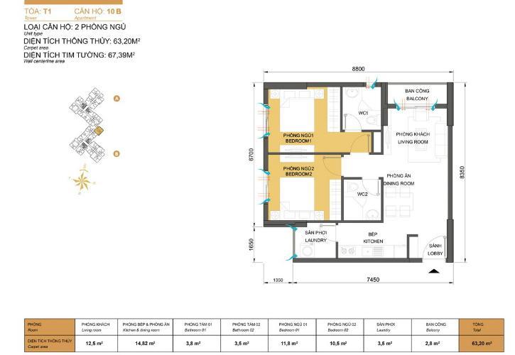 Măt bằng căn hộ 2 phòng ngủ Căn hộ Masteri Thảo Điền 2 phòng ngủ tầng trung T1 hướng Đông Nam