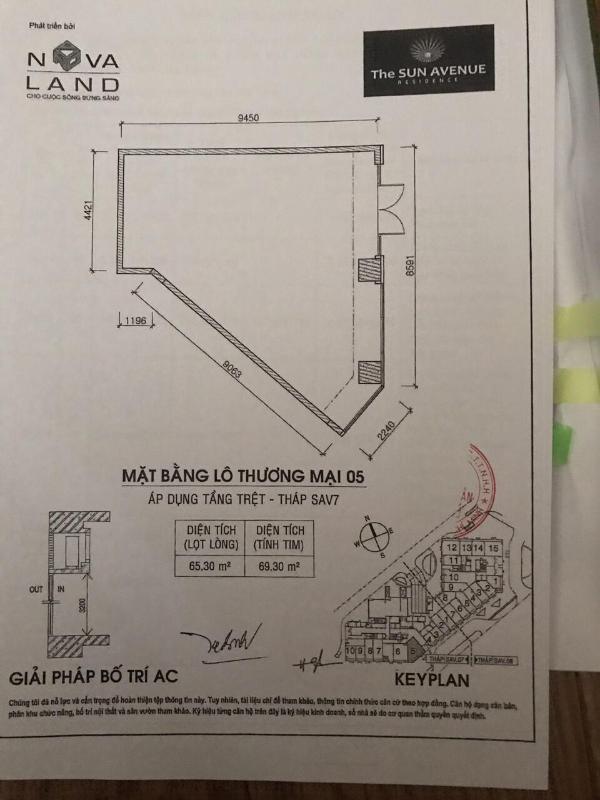ea988693c71a2044790b Cho thuê shophouse The Sun Avenue, tầng trệt, block 7, diện tích 69m2, không có nội thất, bàn giao thô