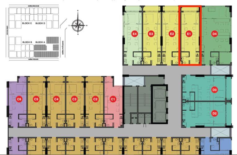 Mặt bằng tầng Officetel Sky Center Phổ Quang Căn hộ Officetel Sky Center tầng trung, ban công hướng Bắc.