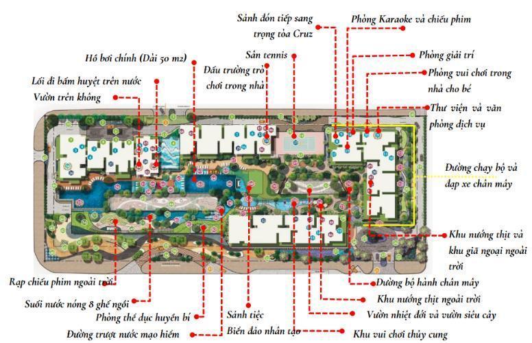 Mặt bằng phối cảnh căn hộ Căn hộ Feliz en Vista Căn hộ Feliz en Vista tầng 12B nội thất cơ bản