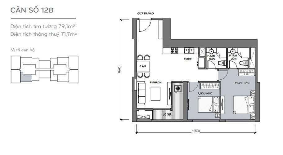 Mặt bằng căn hộ 2 phòng ngủ Căn hộ Vinhomes Central Park 2 phòng ngủ tầng cao L5 view hướng Tây Bắc