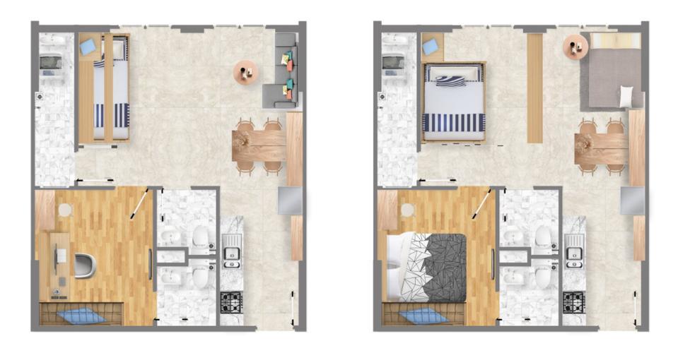 layout căn hộ Saigon Itela Căn hộ Saigon Intela nội thất cơ bản, view thành phố sầm uất.