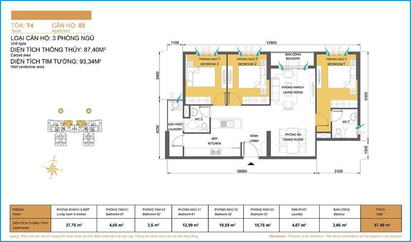 Mặt bằng căn hộ 3 phòng ngủ Căn hộ Masteri Thảo Điền 3 phòng ngủ tầng cao T4 nội thất đầy đủ