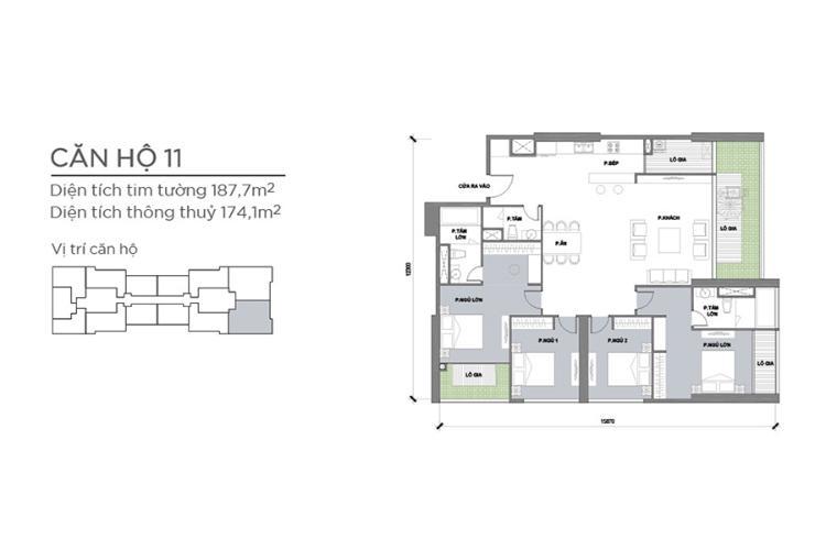 Căn hộ 4 phòng ngủ Căn góc Vinhomes Central Park 4 phòng ngủ tầng cao P2 view sông