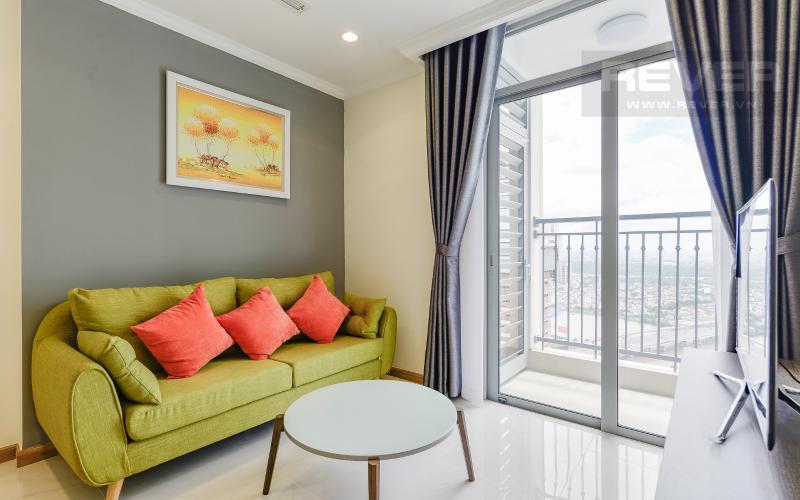 Phòng khách Căn hộ Vinhomes Central Park tầng cao Landmark 2 view sông