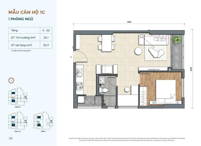 Căn hộ Precia tầng 11 nội thất cơ bản, 1 phòng ngủ.