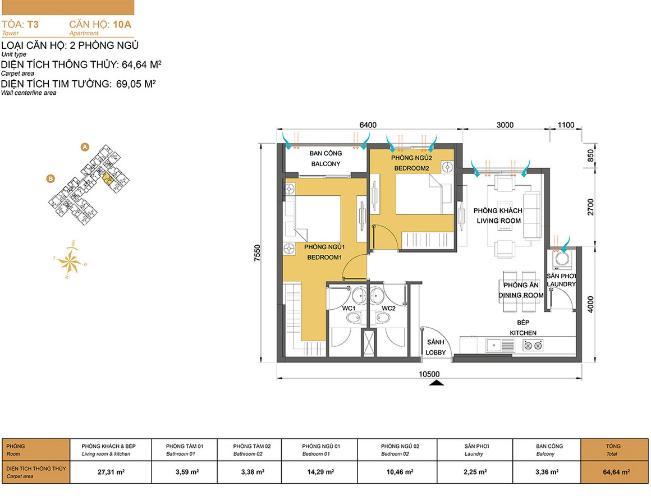 Mặt bằng căn hộ 2 phòng ngủ Căn hộ Masteri Thảo Điền 2 phòng ngủ tầng cao T3 nội thất đầy đủ