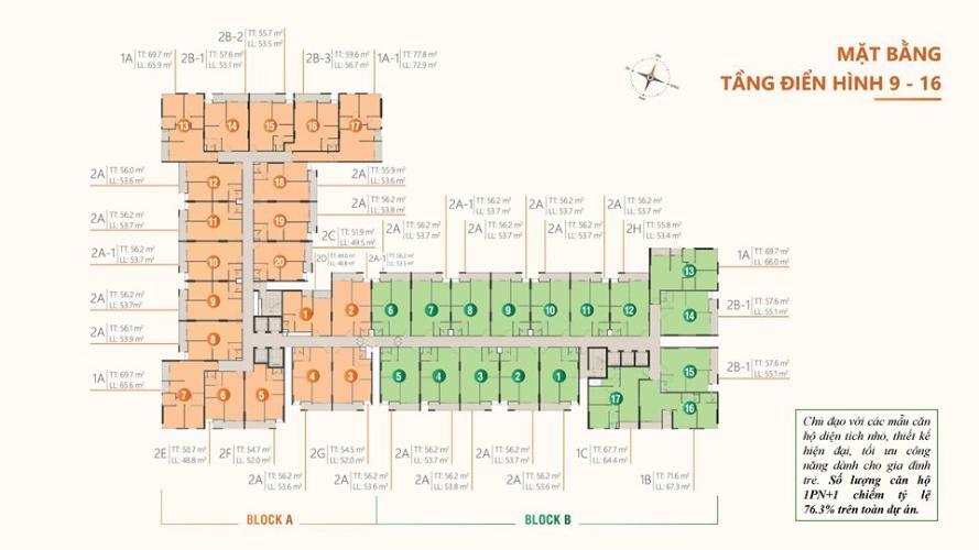 Mặt bằng tầng điển hình dự án RICCA Bán căn hộ Ricca 1PN+1, tầng 15, không nội thất, chưa bàn giao