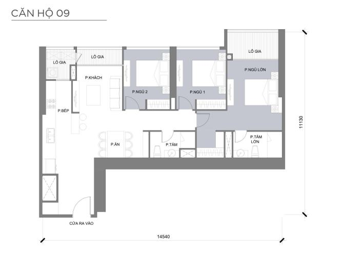Mặt bằng căn hộ 3 phòng ngủ Căn hộ Vinhomes Central Park 3 phòng ngủ tầng cao P3 đầy đủ tiện nghi