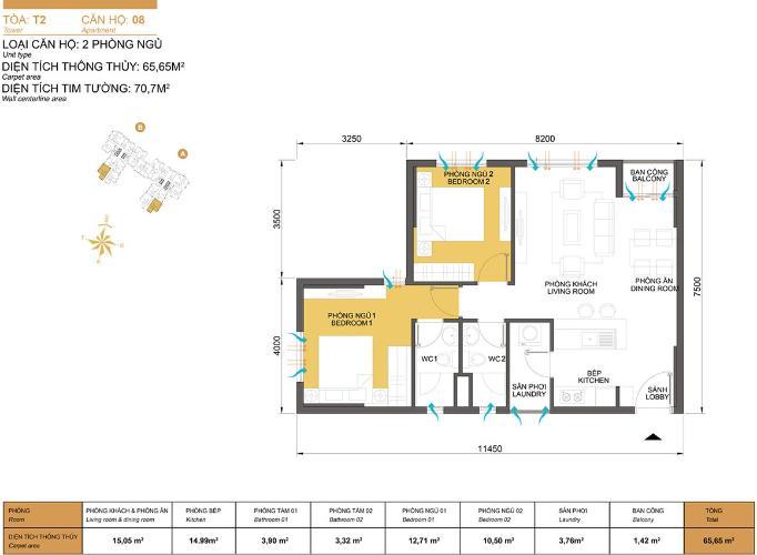 Mặt bằng căn hộ 2 phòng ngủ Căn hộ Masteri Thảo Điền 2 phòng ngủ tầng thấp tòa T2