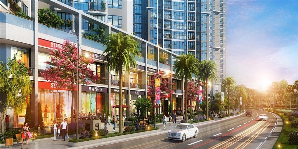 Mặt tiền Shop House Q7 Sài Gòn Riverside Shop-house Q7 Saigon Riverside hướng Nam, có thể kinh doanh trực tiếp.