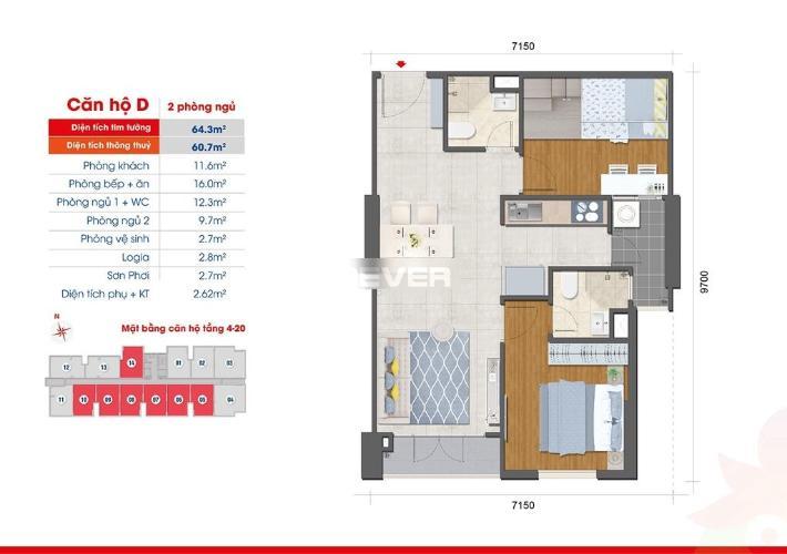 Layout West Intela, Quận 8 Căn hộ West Intela tầng 7, nội thất cơ bản, 2 phòng ngủ.