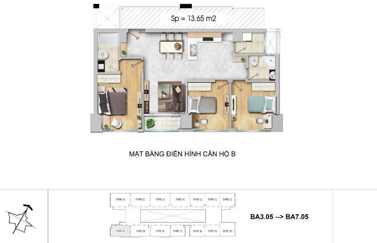Mặt bằng căn hộ 3 phòng ngủ Căn hộ New City Thủ Thiêm 3 phòng ngủ tầng thấp BA hướng Đông Nam