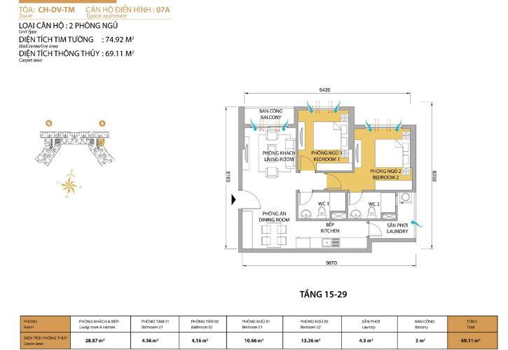 Mặt bằng căn hộ 2 phòng ngủ Căn hộ Masteri Thảo Điền tầng thấp T5 đầy đủ nội thất, mới 100%