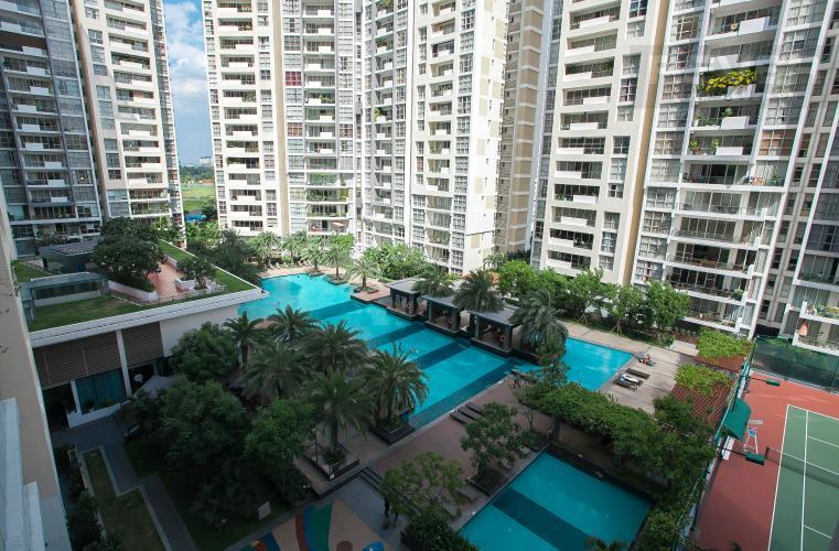 View Nội Khu Căn hộ Estella Residence 3 phòng ngủ tầng thấp view hồ bơi