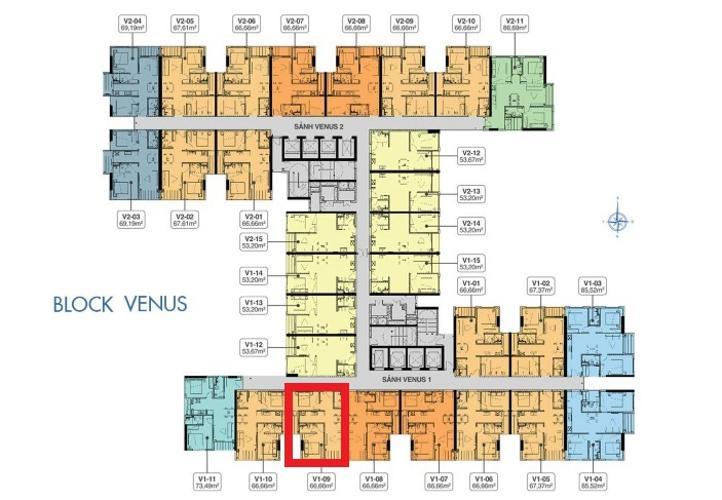 layout căn hộ Q7 Saigon Riverside Bán căn hộ Q7 Saigon Riverside thuộc tầng cao, diện tích 66.66m2