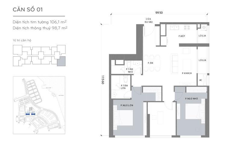 Căn hộ 3 phòng ngủ Căn góc Vinhomes Central Park 3 phòng ngủ tầng cao Landmark 2