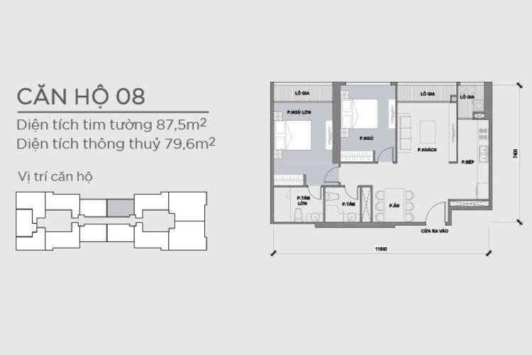 Mặt bằng căn hộ 2 phòng ngủ Căn hộ Vinhomes Central Park tầng cao Park 2 mới bàn giao, chưa ở