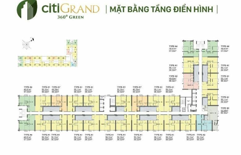 Layout City Grand Quận 2 Căn hộ Citi Grand 2 phòng ngủ, nội thất cơ bản.