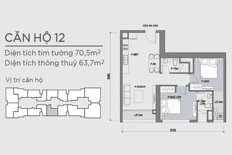 Mặt bằng căn hộ 2 phòng ngủ Căn hộ Vinhomes Central Park 2 phòng ngủ tầng trung P1 view nội khu