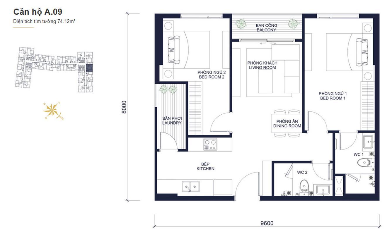 A09 Bán căn hộ Masteri Millennium 2PN, block A, nội thất cơ bản, view kênh Bến Nghé và Bitexco