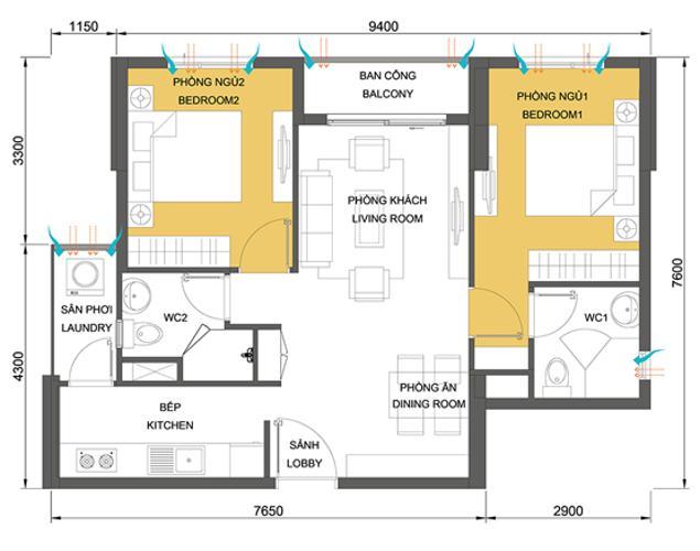 Mặt bằng căn hộ 2 phòng ngủ Căn hộ Masteri Thảo Điền tầng cao, view đẹp tháp T5