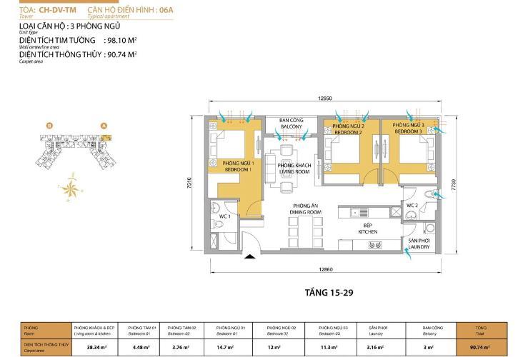 Mặt bằng căn hộ 3 phòng ngủ Căn hộ Masteri Thảo Điền 3 phòng ngủ tầng trung T5 view nội khu