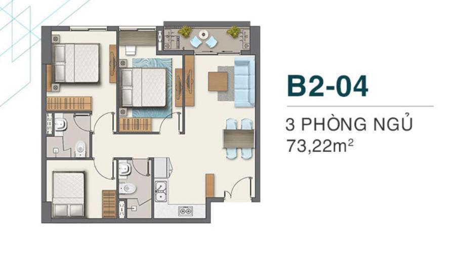 Layout Q7 Boulevard Căn hộ tầng thấp Q7 Boulevard nội thất cơ bản, 3 phòng ngủ.