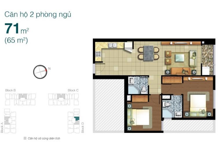 Mặt bằng căn hộ 2 phòng ngủ Căn hộ Lexington Residence 2 phòng ngủ tầng trung LD view thông thoáng