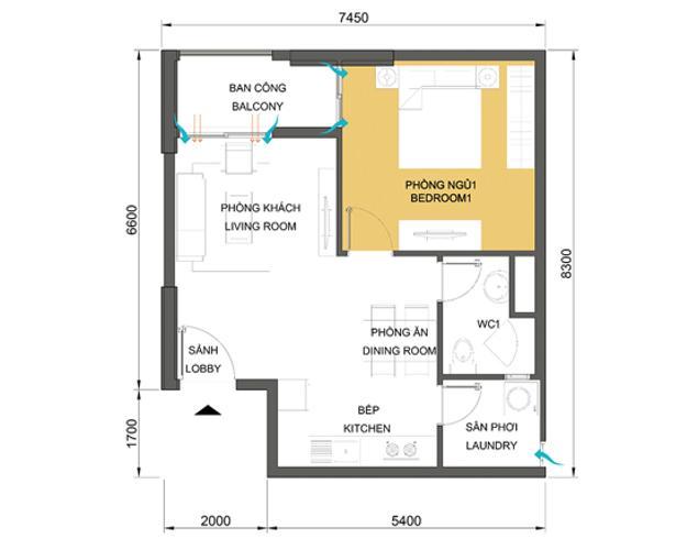 Mặt bằng căn hộ 1 phòng ngủ Căn hộ Masteri Thảo Điền tầng thấp T1B hướng Tây Bắc 1 phòng ngủ