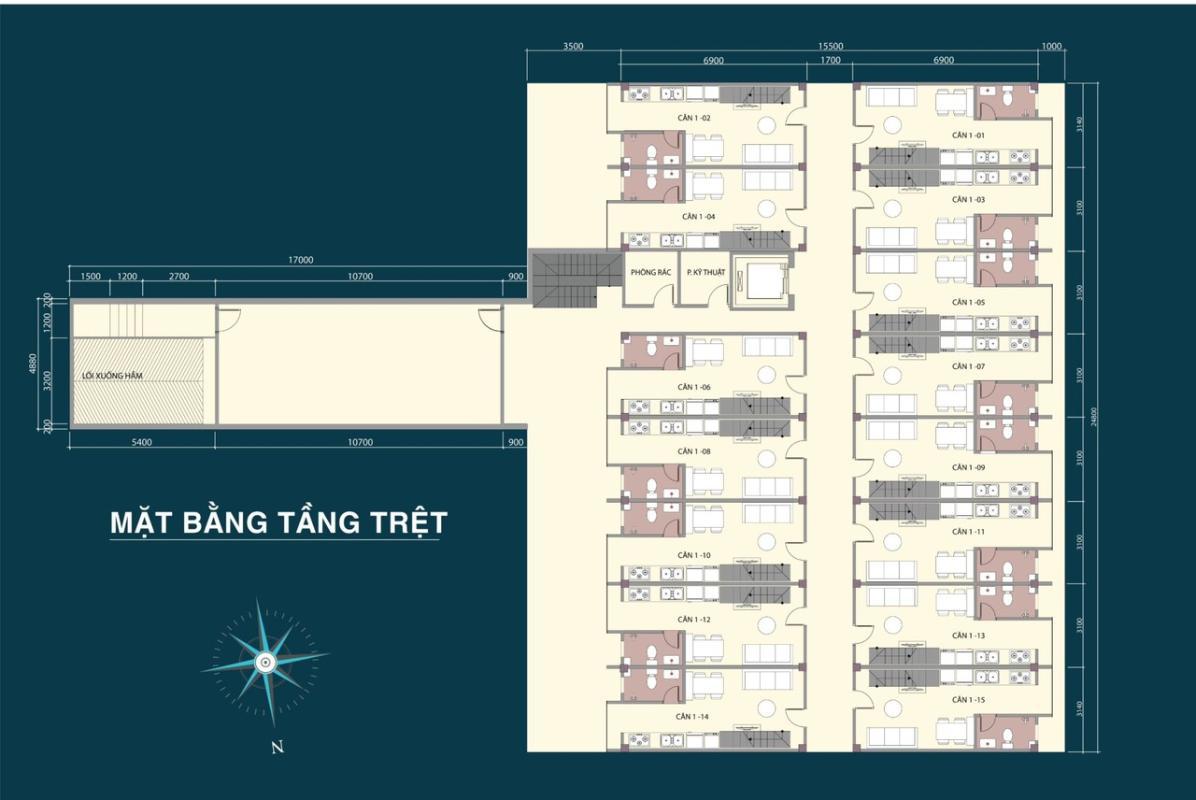 63f364f0ec990ac75388 Bán căn hộ 9X Bình Tân 1PN, tầng 2, diện tích 33m2m, đầy đủ nội thất, hướng cửa Đông Nam