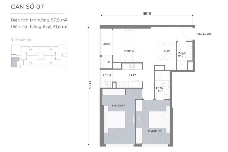 Mặt bằng căn hộ 2 phòng ngủ Căn hộ Vinhomes Central Park 2 phòng ngủ tầng cao L3 đầy đủ tiện nghi