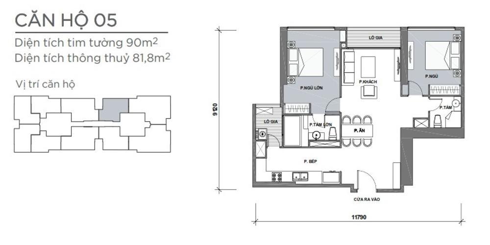 Mặt bằng căn hộ 2 phòng ngủ Căn hộ Vinhomes Central Park 2 phòng ngủ tầng cao P4 view sông