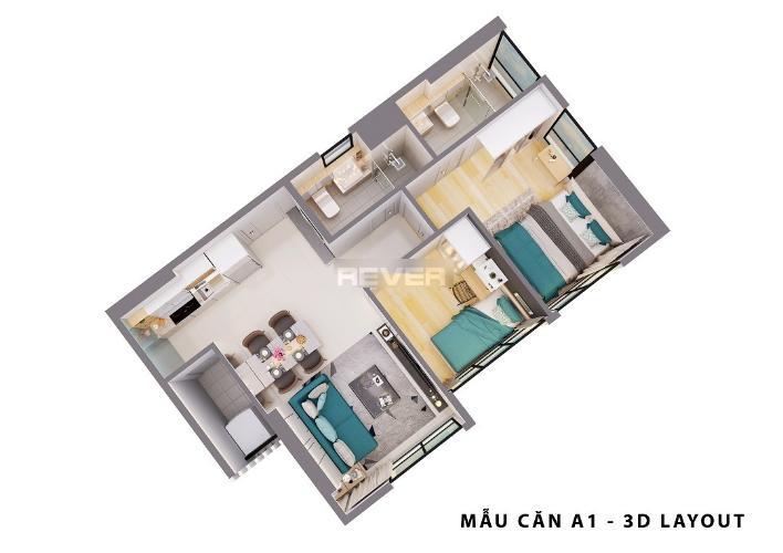 Layout Opal Boulevard Căn hộ Opal Boulevard tầng 14, nội thất cơ bản, 2 phòng ngủ.