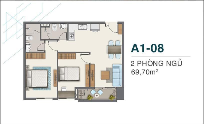Bán căn hộ Q7 Boulevard diện tích 69.7m2, kết cấu gồm 2 phòng ngủ và 2 toilet. Ban công hướng Nam