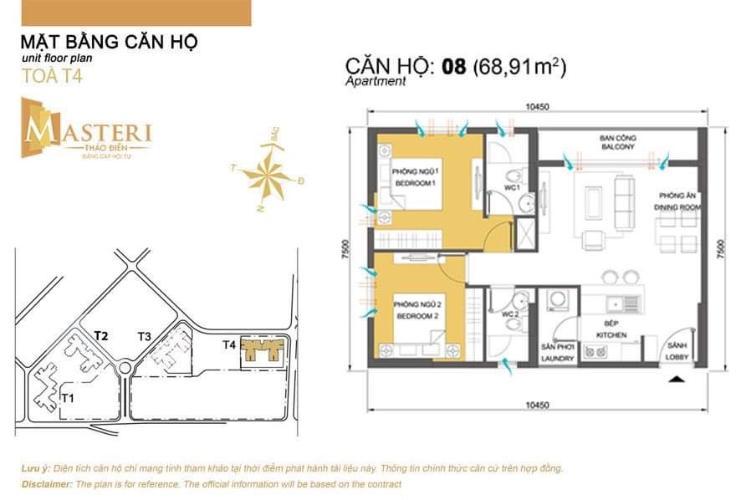 layout căn só 8 tháp T4 Mastẻi Thảo Điền Căn hộ Masteri Thảo Điền view nội khu yên tĩnh, 2 phòng ngủ.