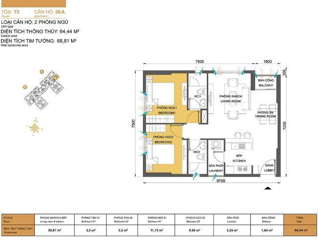 Mặt bằng căn hộ 2 phòng ngủ Căn hộ Masteri Thảo Điền 2 phòng ngủ tầng cao T3 view sông