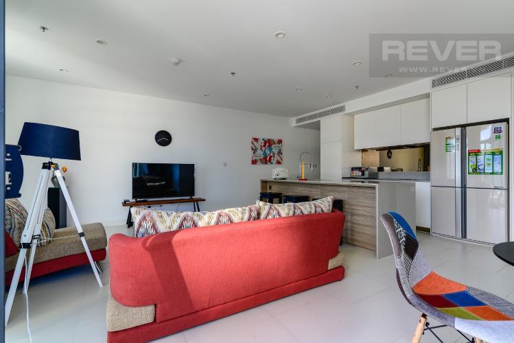 Phòng Khách Cho thuê căn hộ City Garden 2PN 2WC, đầy đủ nội thất, view sông