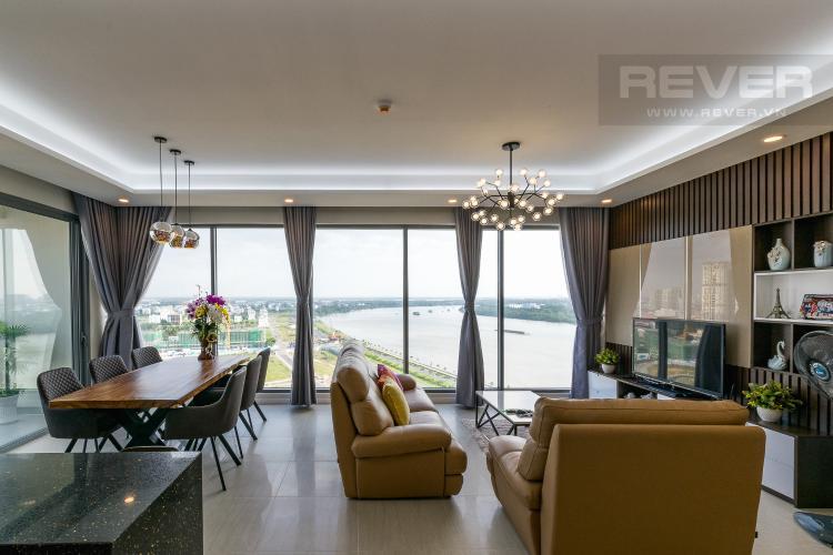 Phòng Khách Căn hộ Diamond Island - Đảo Kim Cương tầng cao, 3PN, nội thất đầy đủ, view sông