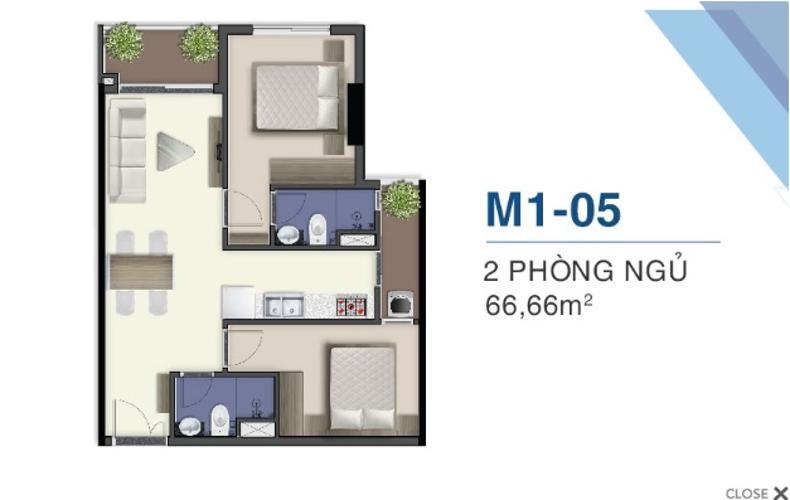 Mặt bằng nội thất M1.29.05 Bán căn hộ Q7 Saigon Riverside, 2 phòng ngủ, diện tích 66,66m2, chưa bàn giao