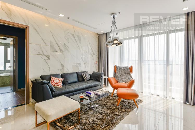 Phòng khách Căn hộ Vinhomes Central Park 3 phòng ngủ tầng trung P4 view sông