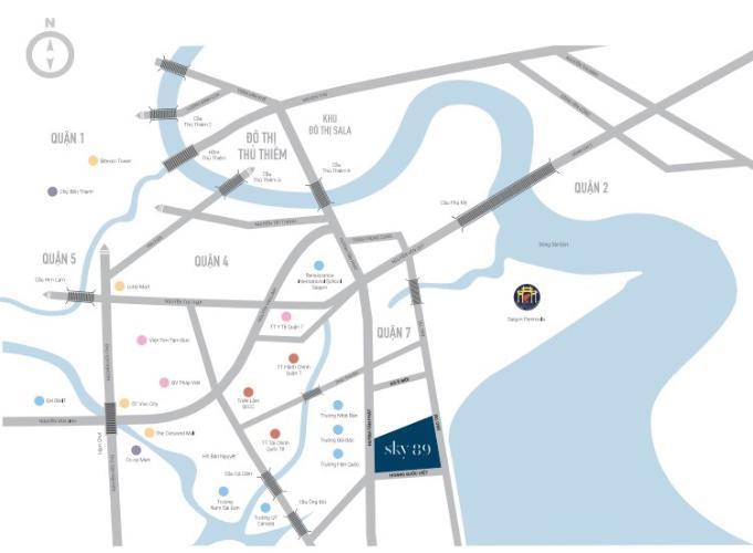 Vị trí dự án Sky89 Căn hộ Sky 89 An Gia ban công hướng Nam, view sông thoáng mát.