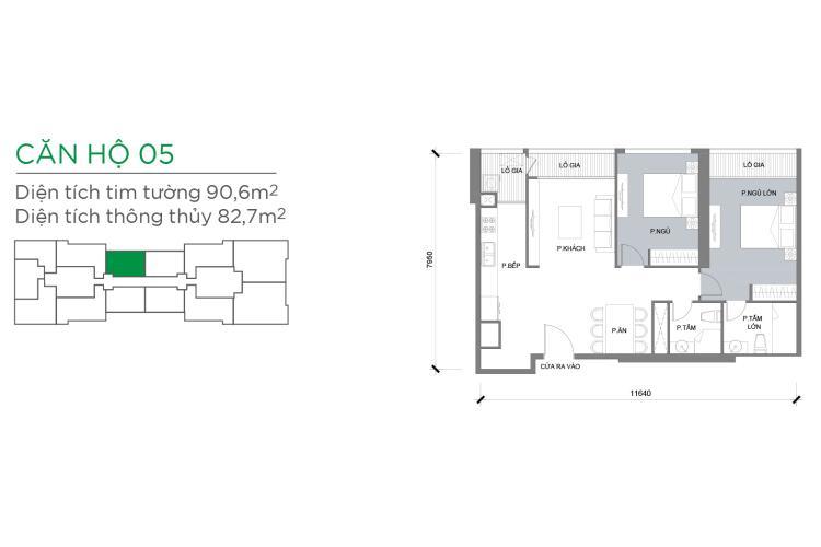 Căn hộ 2 phòng ngủ Căn hộ Vinhomes Central Park 2 phòng ngủ tầng cao P3 view sông