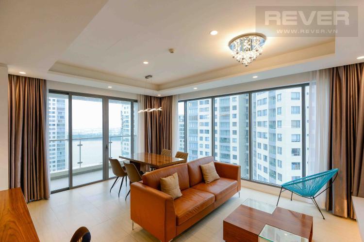 Phòng Khách Cho thuê căn hộ tháp Diamond Island - Đảo Kim Cương 3PN, tháp Hawaii, đầy đủ nội thất, view sông và hồ bơi